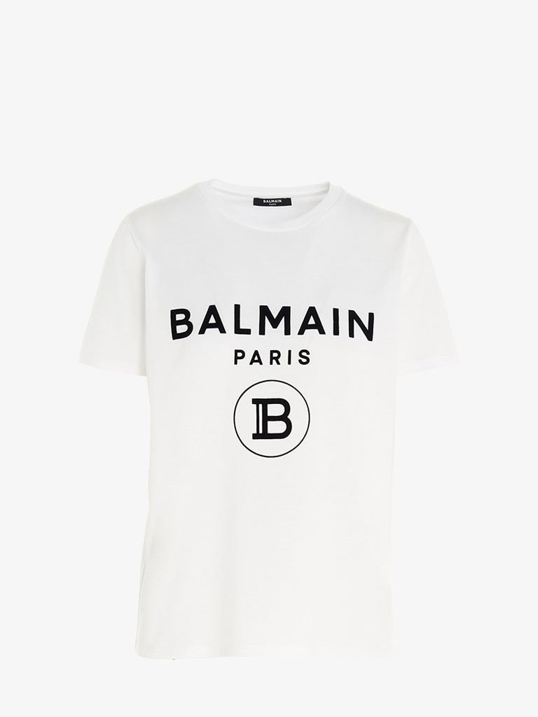 FLOCKED LOGO T-SHIRT WOMEN-CLOTHING T-SHIRT BALMAIN SMETS