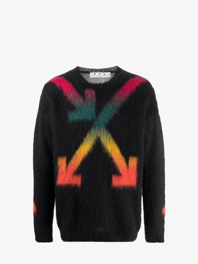 FUZZY ARROWS SWEATER * MEN-CLOTHING CREWNECK OFF-WHITE SMETS