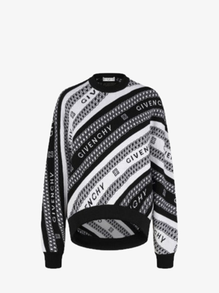 GRAPHIC CHAIN & LOGO CREWNECK WOMEN-CLOTHING KNITWEAR GIVENCHY SMETS