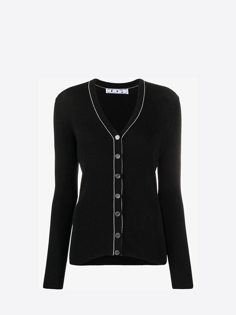 HB005E20KNI0011000 BASIC CARDIGAN WOMEN-CLOTHING CARDIGAN OFF-WHITE IT 38 BLACK/NO COLOUR SMETS