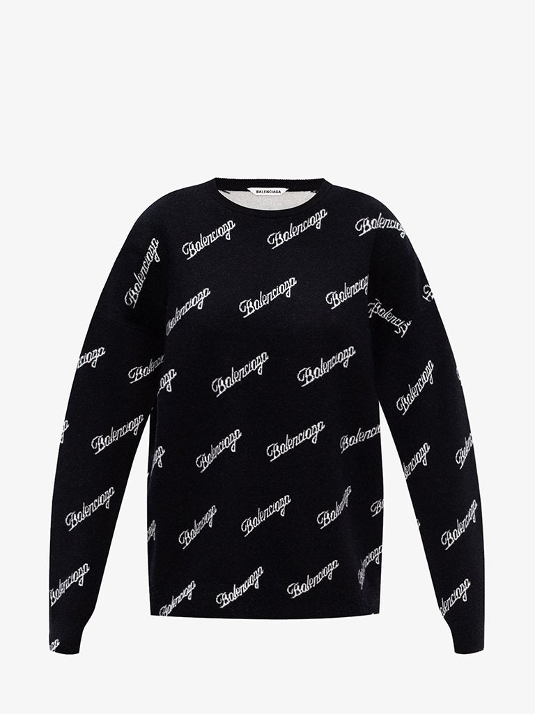 LOGO SCRIPT CREWNECK SWEATER WOMEN-CLOTHING CREWNECK BALENCIAGA SMETS