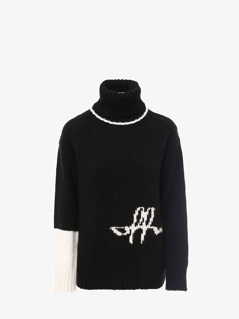 LOGO SWEATER * WOMEN-CLOTHING TURTLENECK OFF-WHITE SMETS