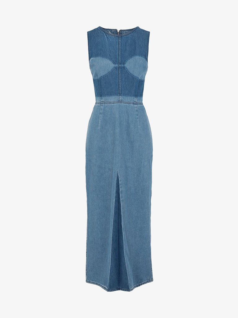 LONG DENIM DRESS WOMEN-CLOTHING LONG DRESS MM6 MAISON MARGIELA SMETS