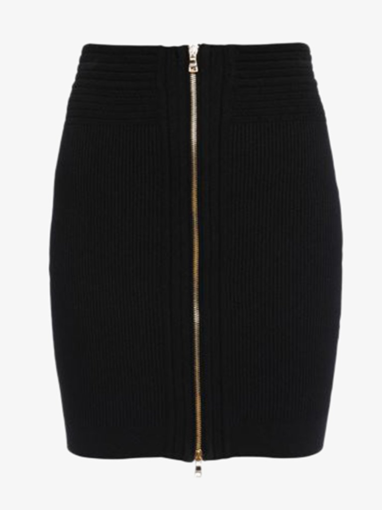 SHORT ZIPPED KNIT SKIRT WOMEN-CLOTHING SKIRT BALMAIN SMETS