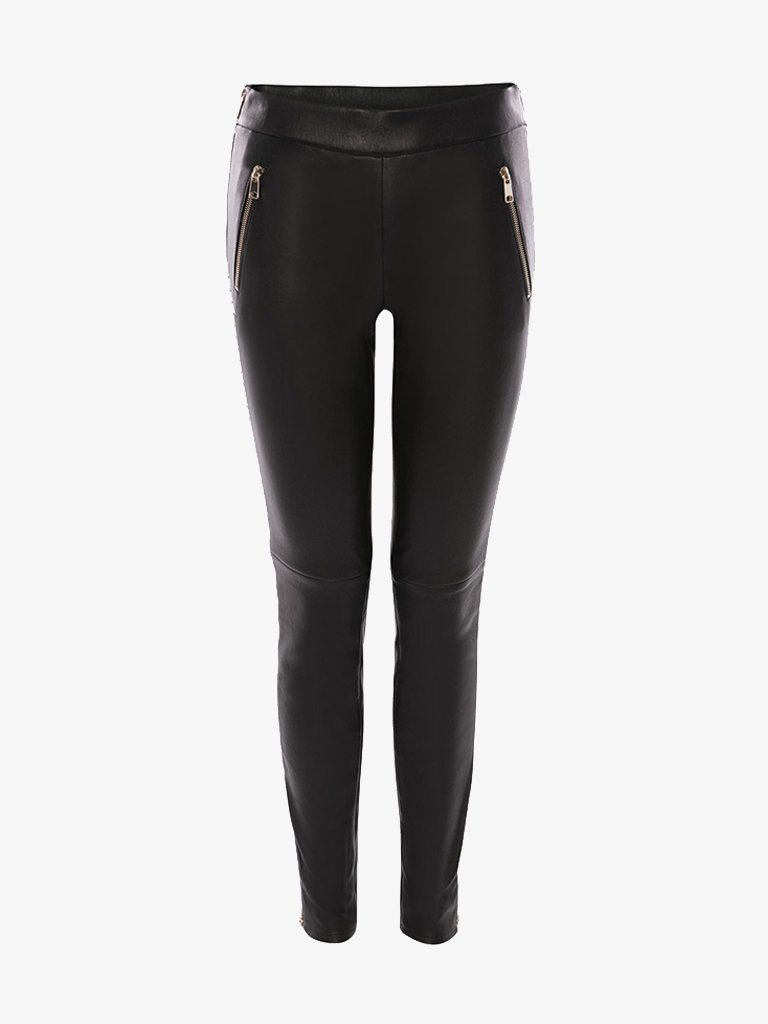 STUDDED LAMBSKIN LEGGINGS * WOMEN-CLOTHING LEGGINGS ALEXANDER MCQUEEN SMETS