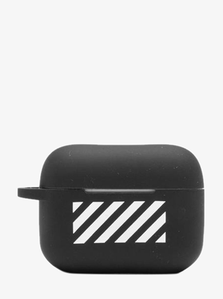 ZG043R21PLA0011001 DIAG SILICON AIRPODS PRO COVER MEN-ACCESSORIES IPHONE CASE OFF-WHITE BLACK/WHITE SMETS