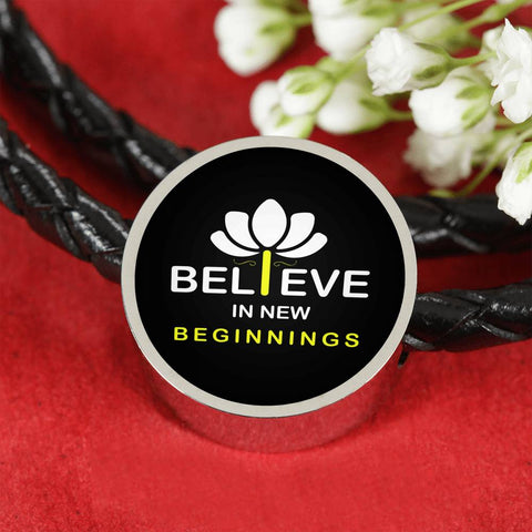 Image of I Believe In New Beginnings Leather Bracelet