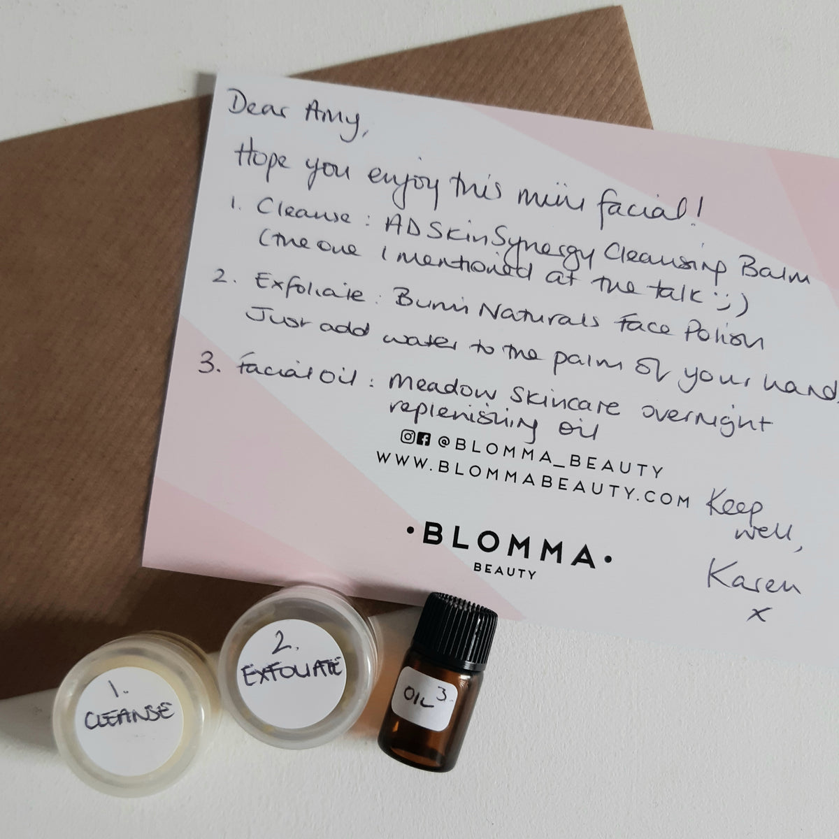 Try before you buy beauty products and a letter from Blomma Beauty.