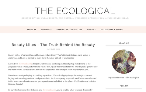 screenshot of blog article about beauty miles and sustainable beauty products