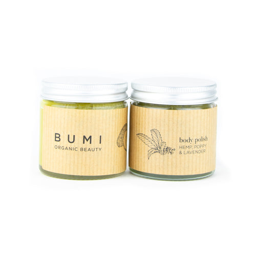 hemp bodycare bundle. body exfoliator and body butter. Bumi naturals
