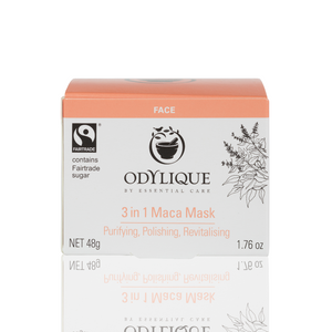 white box with peach lid which contains odylique's maca face mask inside