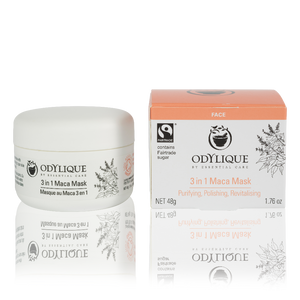 odylique maca mask. white jar on the left and the outer box on the right which is white with a peach coloured top