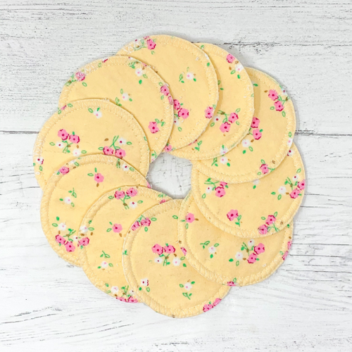 Reusable Cotton Pads with Flower Pattern - Set of 10