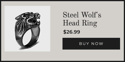 Steel Wolf's Head Ring