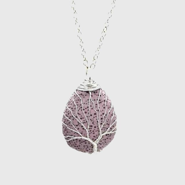 Tree of Life Lava Rock Diffuser Necklace