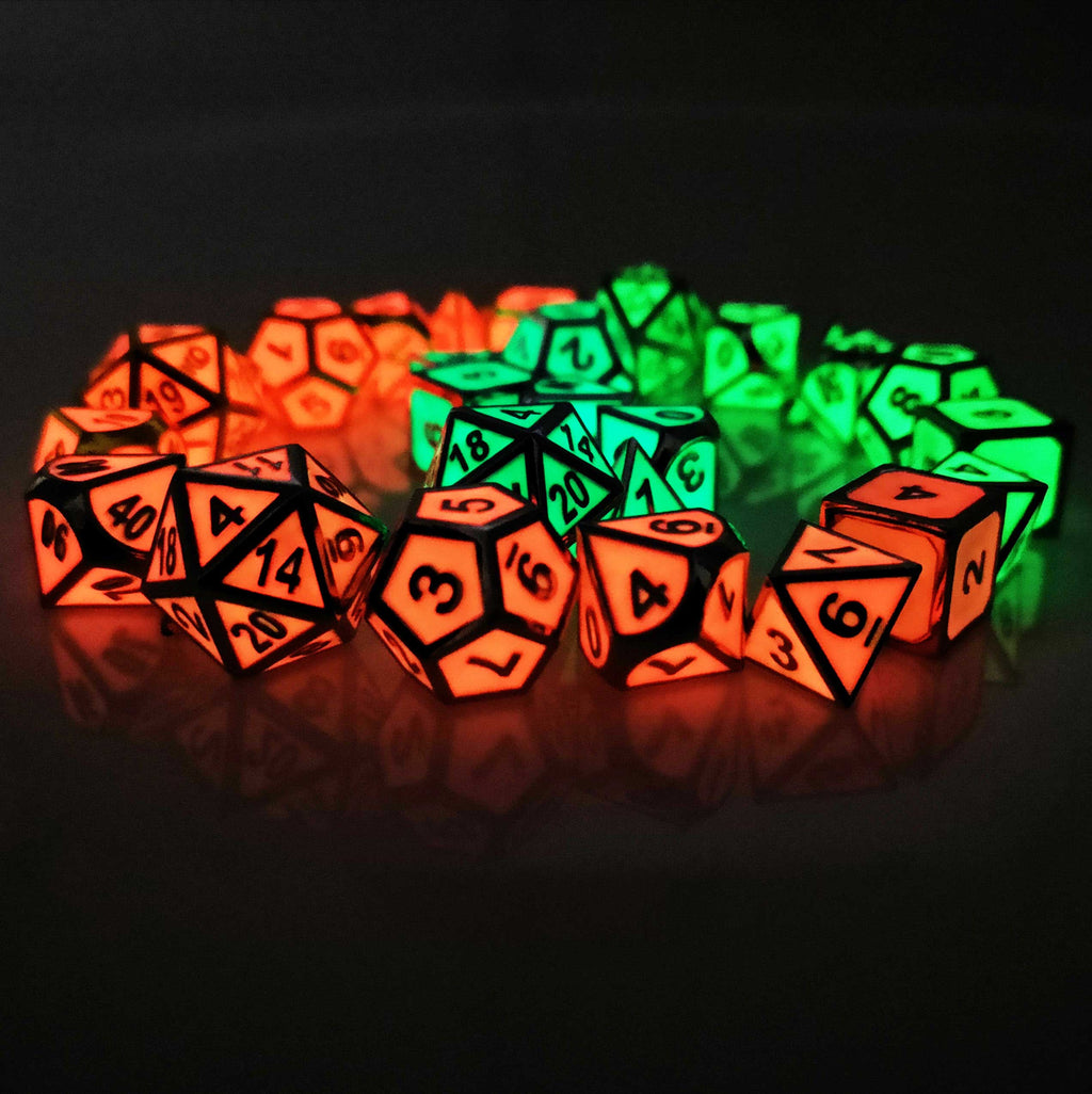 Glow in the Dark Metal Polyhedral Dice Set