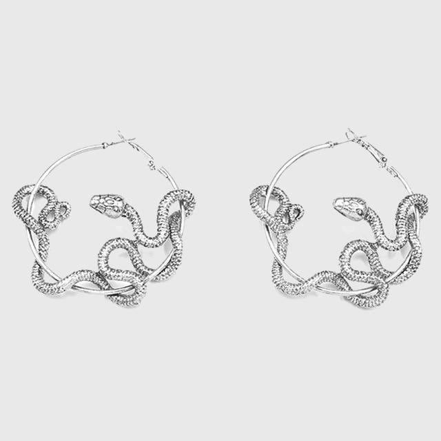 Coiling Snake Hoop Earrings