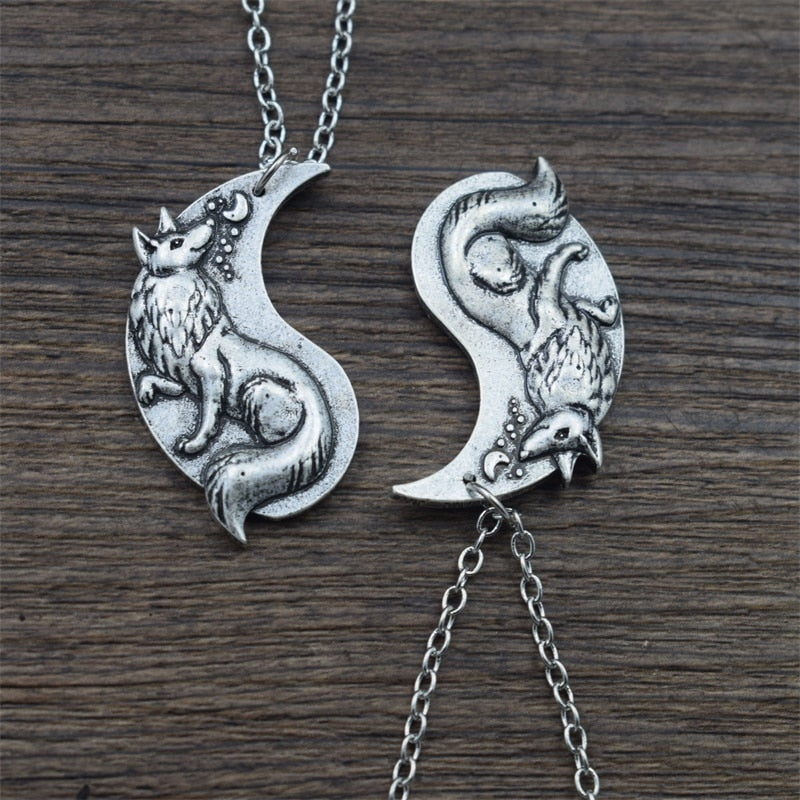 Yin Yang Fox Couple Necklaces