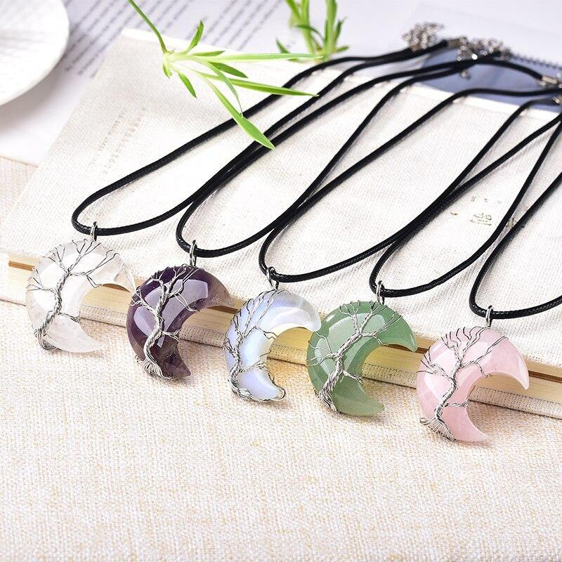 Tree of Life Crescent Moon Semi-Precious Gemstone Necklace