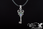 Bejeweled Crown Key Necklace