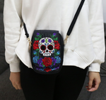 Embroidered Flower Skull Bag
