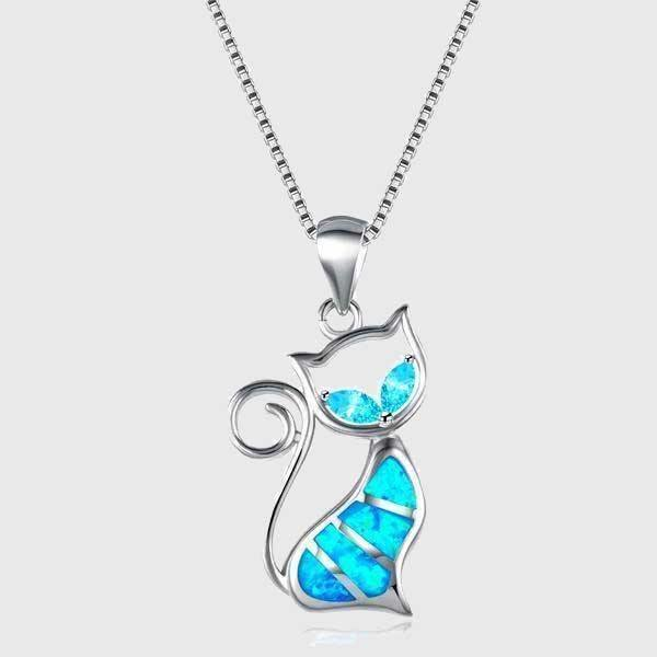 Blue Fire Cat Sterling Silver Necklace - Wyvern's Hoard