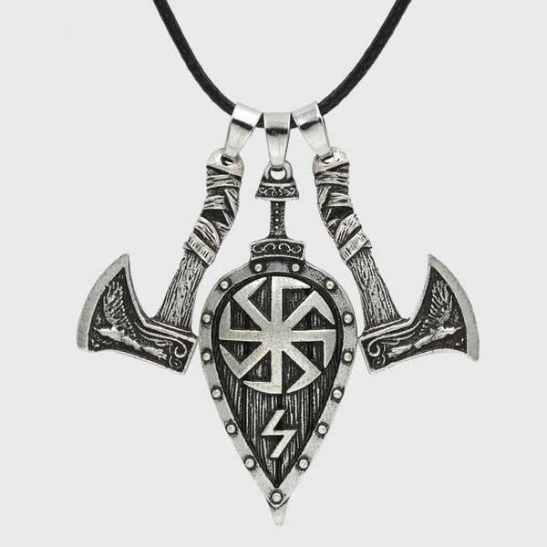 Viking Battle Axes And Shield Necklace