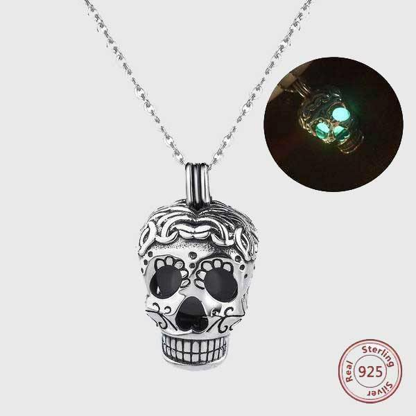 Glow In The Dark Sterling Silver Sugar Skull Necklace - Wyvern's Hoard