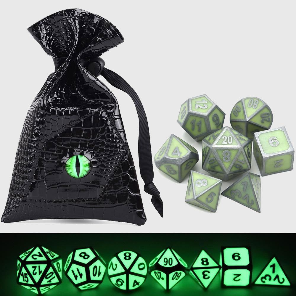 Glow in the Dark Dice With Dragon Eye Bag
