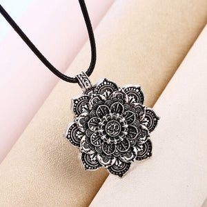 Om Lotus Flower Mandala Necklace