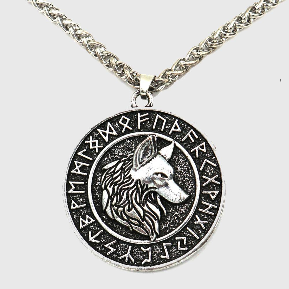 Úlfhéðnar Wolf Elder Futhark Runes Medallion Necklace