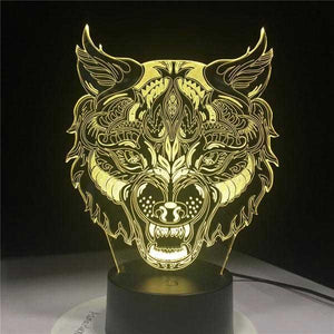 3D Holographic Wolf King Lamp