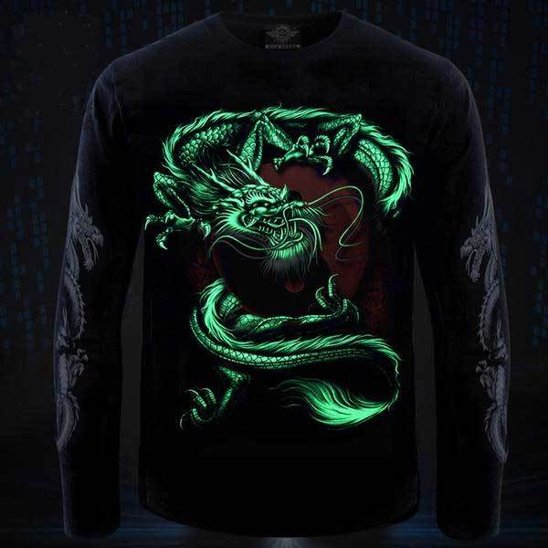 Yin & Yang Dragon Glow In The Dark Long Sleeve Shirt
