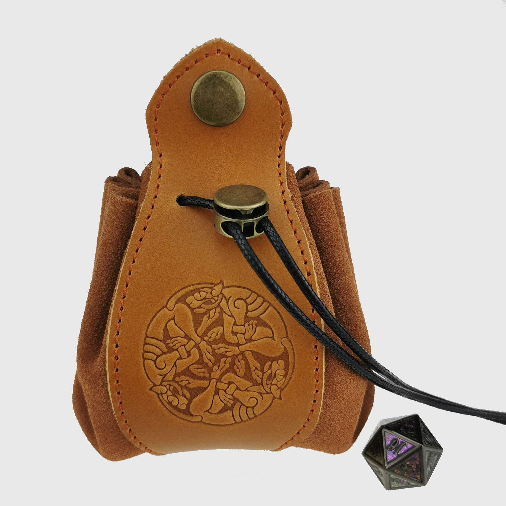 Handmade Leather Celtic Dice Bag & Tray - Wyvern's Hoard
