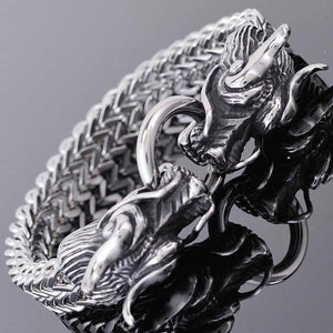 Double Dragon Heads Stainless Steel Bracelet
