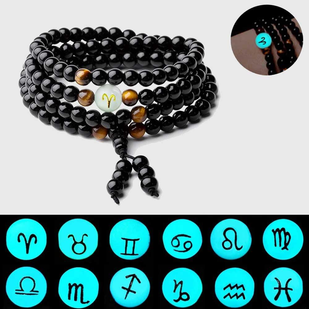 Glow In The Dark Zodiac and Tiger's Eye Meditation Beads