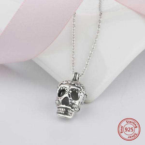 Glow In The Dark Sterling Silver Sugar Skull Necklace