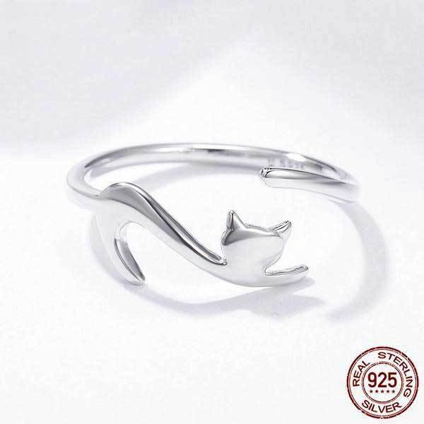 Playful Cat Sterling Silver Ring - Wyvern's Hoard