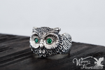 Bejeweled Owl Sterling Silver Ring - Wyvern's Hoard