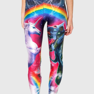 Unicorn vs Robot Rainbow Leggings