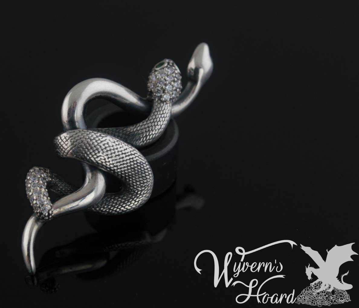 Slithering Twin Snakes Sterling Silver Necklace