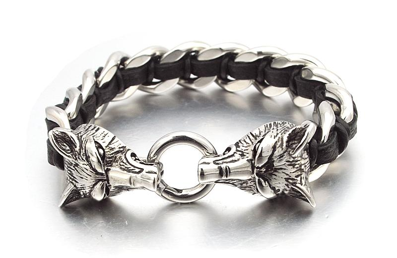 Twin Wolves Leather Chain Bracelet