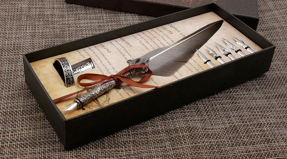 Old World Feather Quill Calligraphy Pen Set