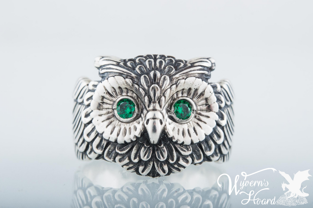 Bejeweled Owl Sterling Silver Ring