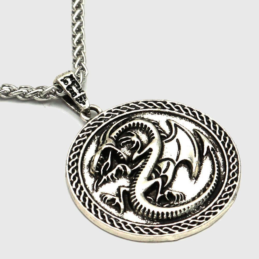 Draconic Wyrm Medallion Necklace - Wyvern's Hoard