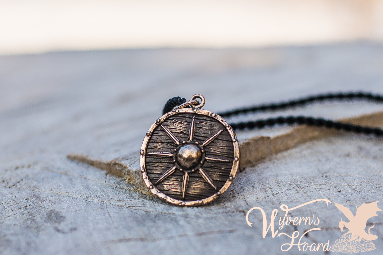 Battle Worn Viking Shield Necklace - Wyvern's Hoard