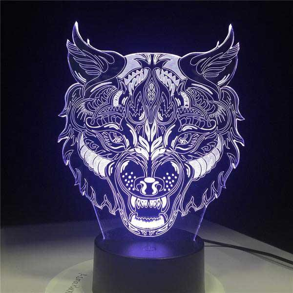 3D Holographic Wolf King Lamp - Wyvern's Hoard