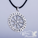 Aegishjalmr Helm of Awe with Elder Futhark Runes Necklace