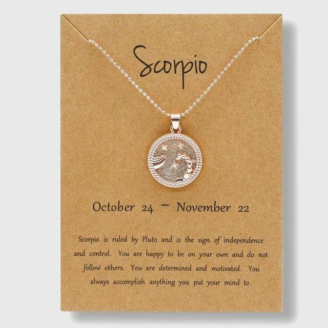 Zodiac Horoscope Rose Gold Necklace