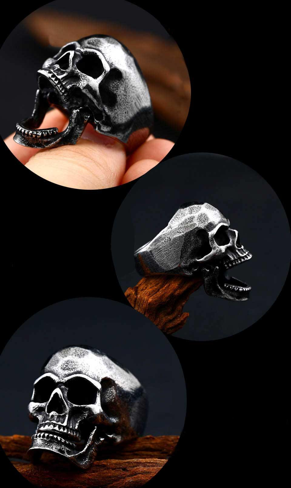 Laughing Skull Stainless Steel Ring - Wyvern's Hoard